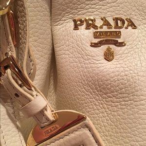 Prada Leather Handbag White Doctor Bag Purse