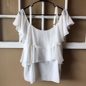 Cecico Tops - Boutique off shoulder tiered blouse!