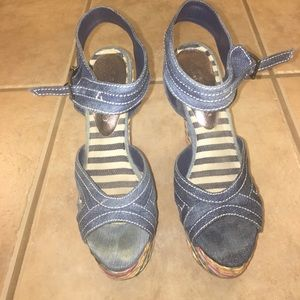 2 lips too Shoes - Denim w multi color wedge bottom