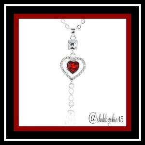 Boutique Jewelry - Red Drop Heart Necklace