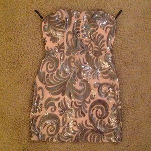 Dresses & Skirts - Silver swirl peach/nude cocktail dress