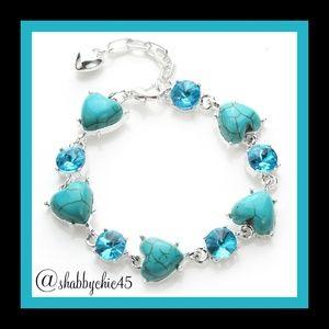 SUPER SALE!  Turquoise Heart Tennis Bracelet