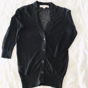 LOFT Sheer 3/4 Sleeve V-Neck Cardigan
