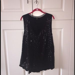 Sequined black tank top