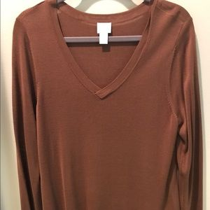 Chicos asymmetrical hem sweater with fringe!