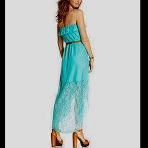 Trixxi Dresses & Skirts - Trixxi Lace Strapless Mint Green Maxi Dress Sz XS