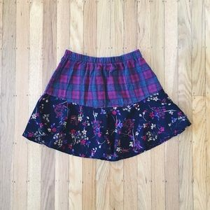 LF Dresses & Skirts - Furst of a Kind Red Plaid and Floral Skirt