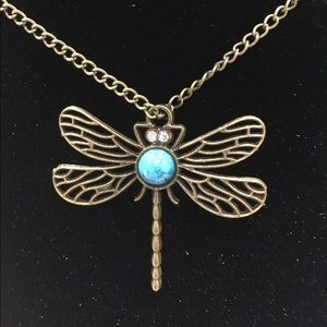 Dragonfly necklace boho vintage style turquoise