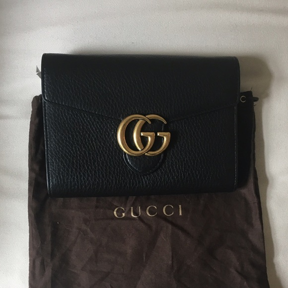 009433777908 Gucci GG Marmont Mini Chain Bag - Black