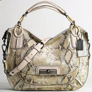 "Coach Handbags - Coach ""Kristin"" Python embossed satchel saddle bag"