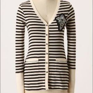 ANTHROPOLOGIE Sequin Striped Art School Cardigan