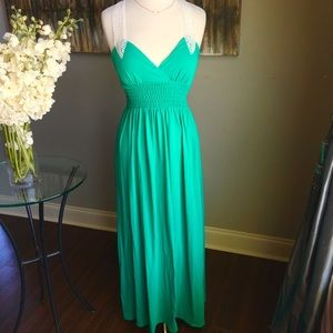 Green and white crochet lace long maxi dress