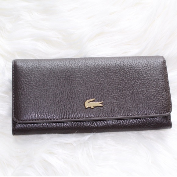 84ba4a55c84 Lacoste Bags | Womens Brown Genuine Leather Wallet Os | Poshmark