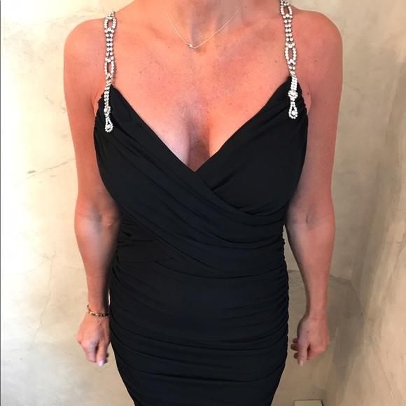 Nicole Bakti Dresses Black Cocktail Dress With Rhinestone Straps