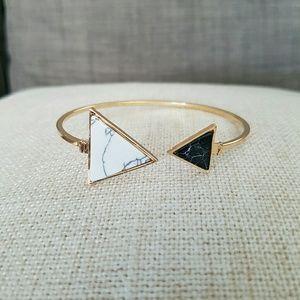 Double Sided Black White Marble Bangle Bracelet