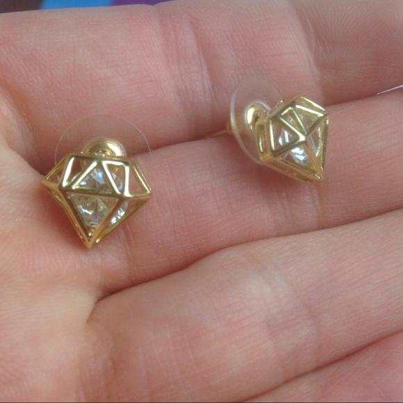 Jewelry - Faux Gold diamond shape sparky stud earrings