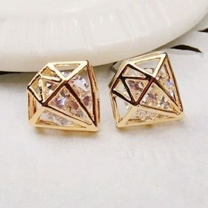 Faux Gold diamond shape sparky stud earrings