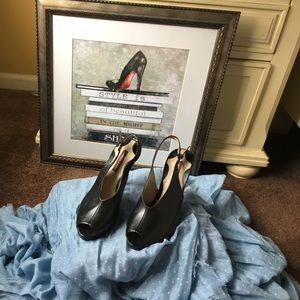 Brand New black leather peep toe sandal