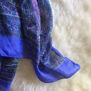 Accessories - Blue and purple paisley large square scarf
