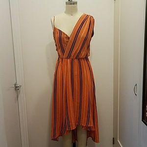 Rebecca Minkoff orange striped asymmetrical DRESS