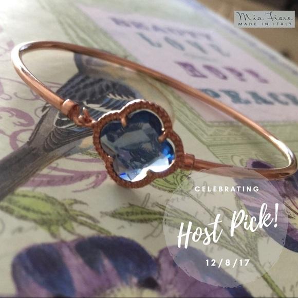Mia Fiore Jewelry Blue Clover Rose Gold Plated Bangle Poshmark