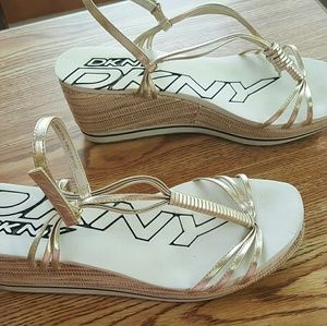 DKNY Gold Strappy Wedge Sandals