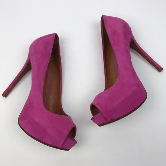 12eec09e38a  Schutz  Ingrid Peep Toe Platform Pumps Pink Suede.  M 5906522a2ba50ae39f01c722
