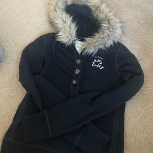 Gilly Hicks Sweaters - Gilly Hicks S fur hood hoodie