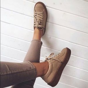 Shoes - Taupe suede platform creeper sneaker