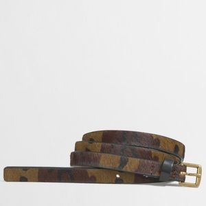 J. Crew Camo Calf Hair Skinny Belt