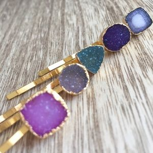 Function & Fringe Accessories - Boho Druzy Barrettes