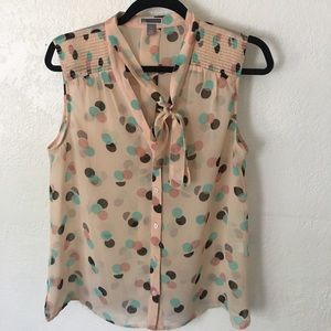 Chelsea28 Polka Dot Sleeveless Blouse