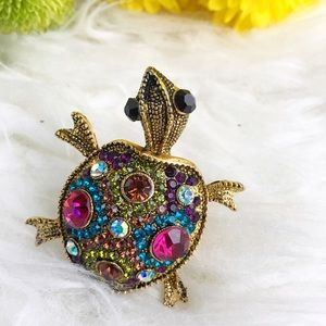 Jewelry - Sea Turtle statement ring rainbow rhinestone