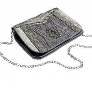 Handbags - Gunmetal Sequin, Beads etc Clutch with Chain, NWT