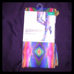 New Xhilaration Multicolor Fashion Tights M/L