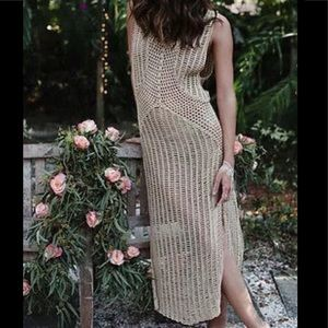 Dresses & Skirts - Tan crocheted ankle cover up/dress read listing