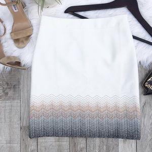 White House Black Market Dresses & Skirts - •WHBM White 'Embroidered Ombré Boot' Skirt•
