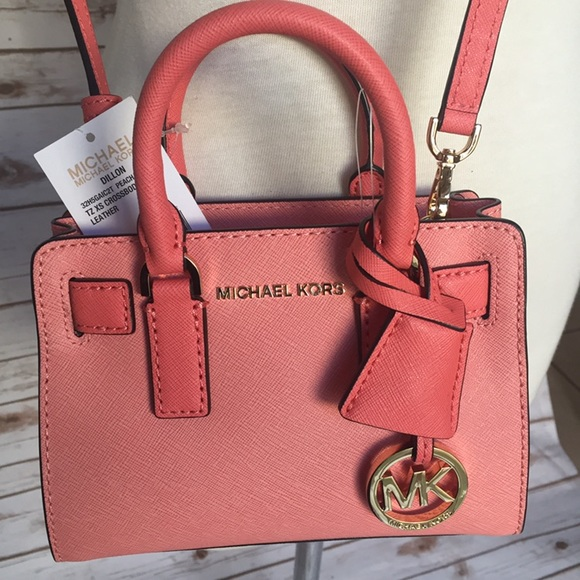 1c3268c1c6b93 Michael Kors Dillon Mini Leather Crossbody Peach