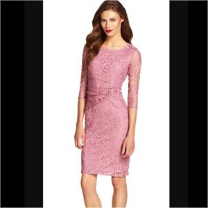 Adrianna Papell Dresses & Skirts - Adrianna Papell Pink Lace Overlay Sheath Dress