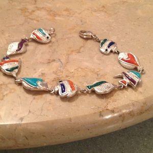 Jewelry - VINTAGE SS MULTI GEMSTONE FISH BRACELET