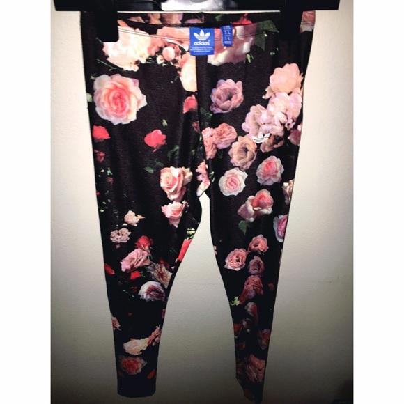 31cc3faa4fb724 Adidas Pants | Rita Ora Trefoil Black Rose Print Leggings | Poshmark