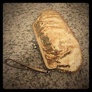 Coach Handbags - Coach paillette sequined gold clutch wristlet