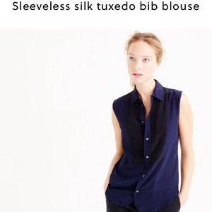 J. Crew Tops - J. Crew sleeveless silk tuxedo bib blouse navy