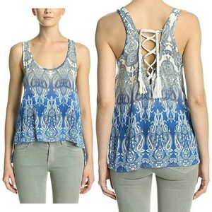 Vintage Havana Tops - M,L Lace-Up Back Ombre Paisley Swing Tank NWT