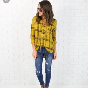 vici collection Tops - VICI lace up plaid shirt