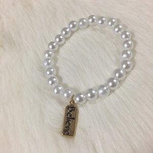 Handmade pearl believe bracelet