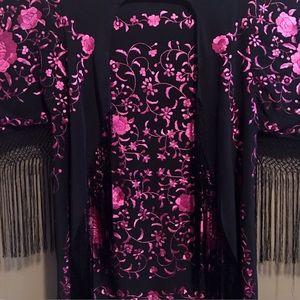 Vintage Black & Pink Embroidery Fringed Kimono