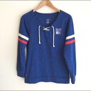 Antigua Tops - NY Rangers Hockey Lace Up Front Sweatshirt