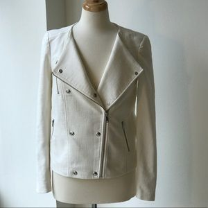 Banana Republic White Moto Style Jacket