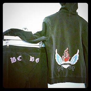 BCBG TRACK SUIT, PINK HEART WINGS PATCH jr. XLG
